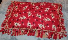 Handcrafted Warm Red Beige Fleece Puppy Dog Bed for Small/Medium Dogs