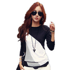 Women Casual Top T-Shirt Loose Fashion Blouse Cotton Blouse Long Sleeve Tops TK