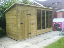TANALISED WOODEN DOG KENNEL AND RUN / CATTERY  10FT X 4FT