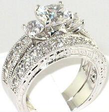 Fancy 3.64 Ct CZ Antique Anniversary Engagement Wedding Bridal Ring Set- Size 10
