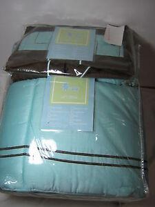 5 pcs Li'l Kids Blue/Brown Hotel Crib Bedding Set - Diaper Stacker, Quilt NEW