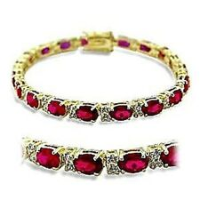 P415505PB OVAL CUT RUBY 7 INCH TENNIS SIMULATED DIAMOND  BRACELET 12CTS GOLD