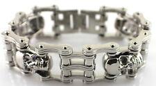 """Stainless Steel Drive Chain 4 Skull Biker Bracelet 1.5"""" wide 9 """"Length USA"""