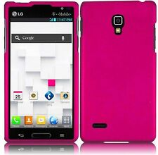 For LG Optimus L9 Rubberized HARD Protector Case  Phone Cover Hot Pink