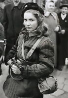 B&W WWII Photo Young Russian Female Soldier PPSh WW2 World War Two  / 1116
