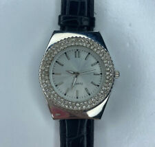 E Crystal Covered Black Croc Japan Quartz Stainless Working