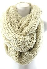 TS Chunky Yarn Ivory Thick Super Soft Warm Double Infinity Winter Scarf