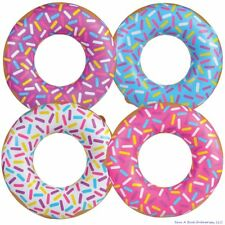 "4 Assorted 32"" Sprinkle Donut Inflatable Pool Party Decoration Float Blow Up"