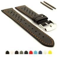 Genuine Leather Perforated Watch Strap Band Rally Racing 18 20 22 RIDER MM