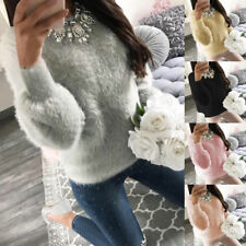 Women Warm Plush Winter Knitted Jumper Sweater Pullover Knitwear Crewneck Tops