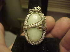 Neat Celadon Oval Jade JOY HSN Wrapped Dragon Ring Sterling Silver CZ Size 7
