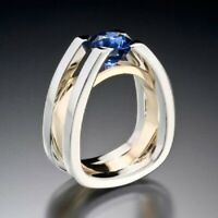 925 Silver Two Tone Gold Filled Sapphire Ring Party Jewelry Wedding Gift Sz 6-10