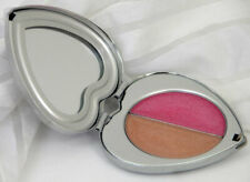 Hard Candy Keepsake Heart Lip Gloss Compact 2 X .05 oz Pink Tan Shiny Silver