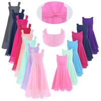 Chiffon Kids Flower Girl Dress Formal Wedding Bridesmaid Pageant Long Maxi Dress