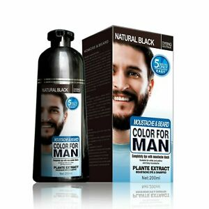 Mokeru Men's 2in1 Beard & Mustache Natural Hair Color Shampoo Permanent Black