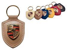 Porsche Original Luxor Leather Key Fob with Colour Crest in Presentation Box