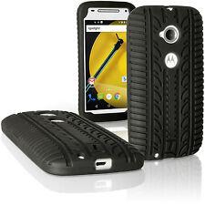 Negro Funda Carcasa Silicona para Motorola Moto E 2 ª Gen Neumático Goma Cover
