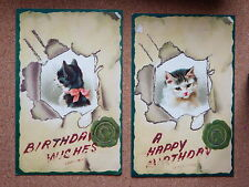 R&L Postcard: x2 Birthday Wishes, Cat Kitten, European L.W. jr & Co