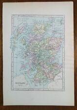 "1896 Map JOHNSONS ~ SCOTLAND 7.5""x10.75"" Antique Vintage Original Old MAPZ12"