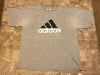 Vintage 90s ADIDAS Big Logo Spell-Out Gray Graphic T-Shirt Adult Size Large