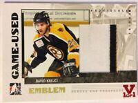 2007-08 ITG Heroes & Prospects Game-Used Emblem David Krejci Vault Red 1/1