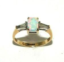 Damen Stilvoll 9ct Gelbgold Ring Set mit Einer Opal und Cz Steine, UK Größe L