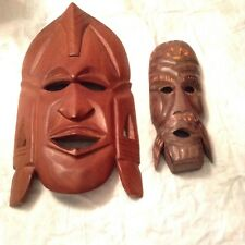 2 Vintage Hand Carved Wooden African Style Tribal Warrior Mask Wall Plaques