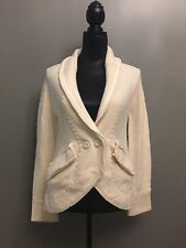 Marc by Marc Jacobs White 100% Wool Knit Cardigan XS