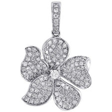 10K White Gold Real Round Diamond Fancy Oval Flower Petal Pendant Charm 0.65 CT.