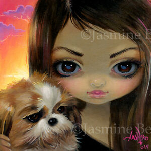 Fairy Face 228 Jasmine Becket-Griffith Art SIGNED 6x6 PRINT faces of faery dog