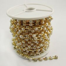9M Golden Tone Metal Inset Pearl Rhinestone Chain Jewelry Finding Hot Sale 37406