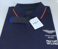 Hackett am Racing Azul Marino Blanco Naranja Grande De Algodón Manga Corta Camisa De Polo
