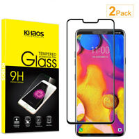 2-Pack Khaos For LG V40 thinq Full Cover Tempered Glass Screen Protector -Black