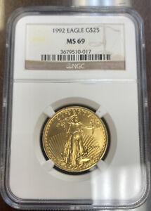 1992 $25 Gold American Eagle MS69 NGC 1/2oz