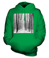 BLURRY SNOWY FOREST UNISEX HOODIE TOP GIFT PHOTOGRAPHY ILLUSION