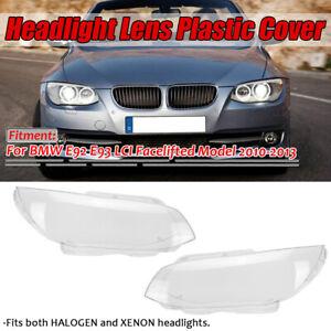 Pair Headlight Headlamp Lens Clear Cover For BMW E92 E93 LCI Facelifted 2010-13