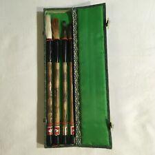 VINTAGE CHINESE CALLIGRAPHY PAINTING BRUSH SET BOX NEW 4 Brushes