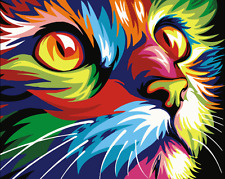 """16X20"""" Paint By Number Kit DIY Acrylic Painting on Canvas Abstract Cat SPA1197"""