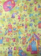 100% Cotton Quilting craft Fabric benartex Grandma's House 1550 Gran Nan Green