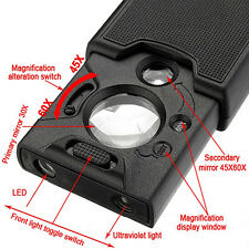 45x 60x LED UV Lighted Magnifier Jewelry Loupes Loop Magnifying Glass yxx5