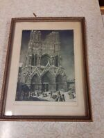Antique 1920's ETCHING Engraving Colored CATHEDRAL NOTRE DAME Art Deco  Frame