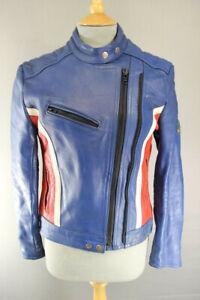VINTAGE 1970's KETT BLUE, RED & WHITE COWHIDE LEATHER BIKER JACKET: SIZE 10