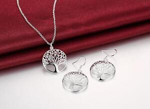 cute Charms Tree Silver Fashion wedding Women earring necklace set hot 925