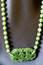 Green Jade Bead w/ Pendant Necklace - Vintage