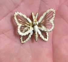 Monet Gold Tone with White butterfly charm pendant