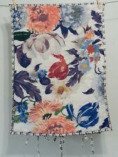 Anthropologie Floral Standard Size Quilted Pillow Sham Tie Closure 100% Cotton