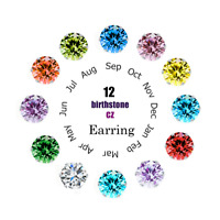 12 Pairs Women Everyday Stud Post Earrings CZ Month Birthstones Stud Earrings