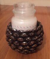 Yankee Candle Large Pine Cone Jar Holder or Candy Dish Christmas Winter Resin