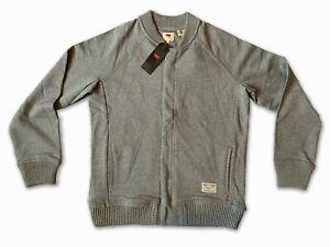 New Levi's Mens Long Sleeve Grey Mighty Made Jumper Jacket Large