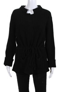 Leggiadro Womens Long Sleeve Tie Front Wool Cardigan Sweater Black Size L